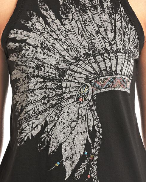 Rock & Roll Cowgirl Women's Headdress High Neck Tank, Black, hi-res