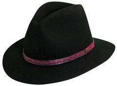 Scala Men's Black Wool Felt with Leather Trim Safari Hat, Black, hi-res
