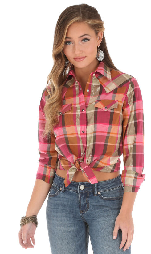 Wrangler Women's Long Sleeve Plaid 2 Pocket Shirt, Pink, hi-res