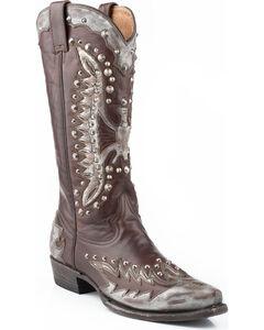 Stetson Eartha Studded Metallic Eagle Cowgirl Boots - Snip Toe, Grey, hi-res