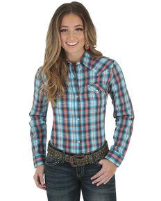 112ed3a53 Wrangler Womens Assorted Plaid Snap Long Sleeve Western Shirt , Blue, hi-res