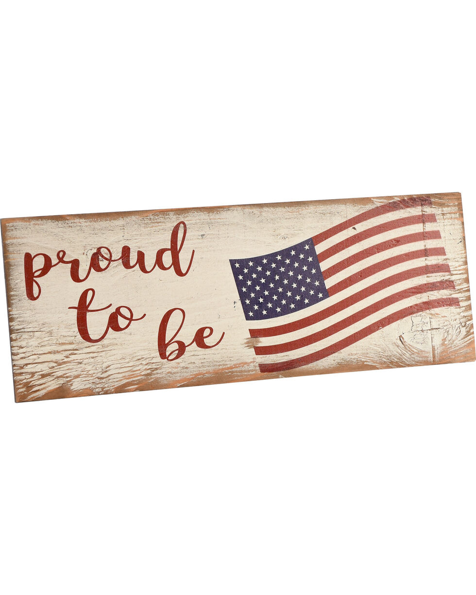 Boulder Innovations Proud to be American Wooden Plaque, Navy, hi-res