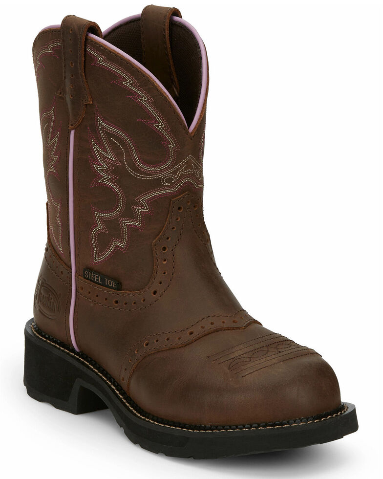 Justin Women's Wanette Western Work Boots - Steel Toe, Distressed Brown, hi-res