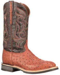 Lucchese Men's Rowdy Ostrich Skin Western Boots - Wide Square Toe, Cognac, hi-res