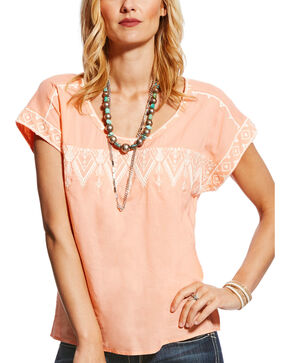 Ariat Women's Tamera Peach Embroidered Short Sleeve Blouse, Peach, hi-res