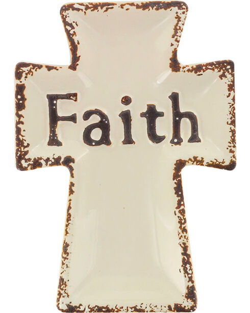 Stonebriar Ceramic Worn Cross Faith Plate, No Color, hi-res