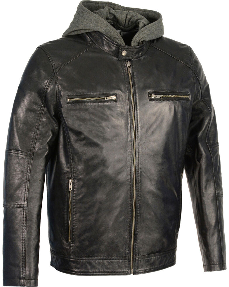Milwaukee Leather Men's Snap Collar Leather Moto Jacket w/ Removable Hood - Big - 5X, Black, hi-res