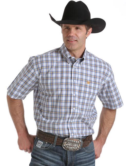 Cinch Men's White Short Sleeve Western Shirt, White, hi-res