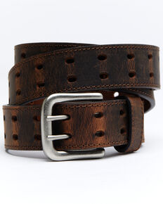 Hawx® Men's Double Perforated Work Belt, Brown, hi-res