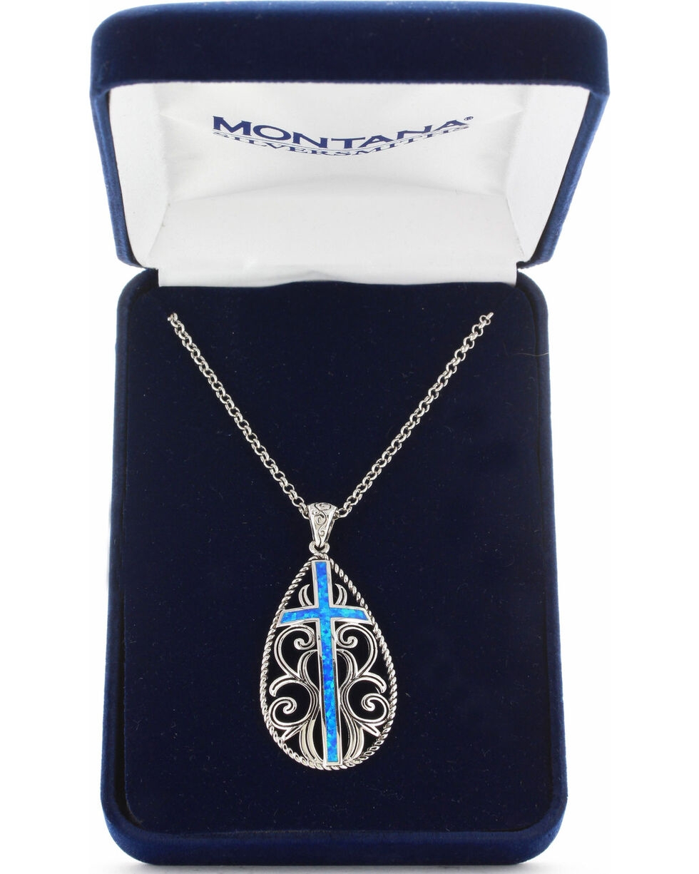 Montana Silversmiths Women's Filigree Water Lights Cross Necklace , No Color, hi-res