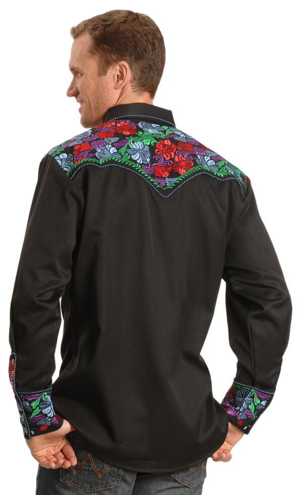 Scully Vibrant Floral Embroidered Retro Western Shirt - Big & Tall, Blue, hi-res