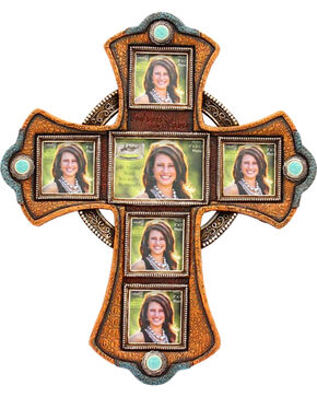 Cross Picture Frame Wall Hanging, Brown, hi-res