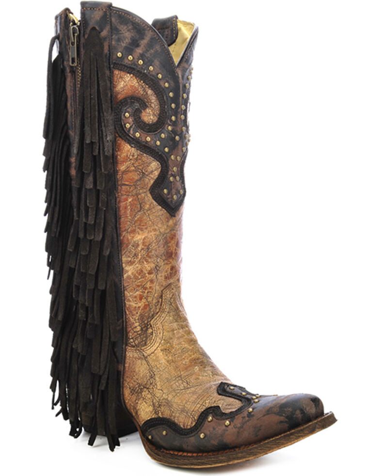 Corral Studded Fringe Cowgirl Boots - Snip Toe, Brown, hi-res