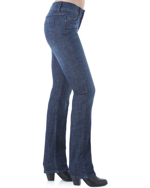Wrangler Women's Dark Wash Stretch Denim Jeans - Straight Leg , Dark Blue, hi-res