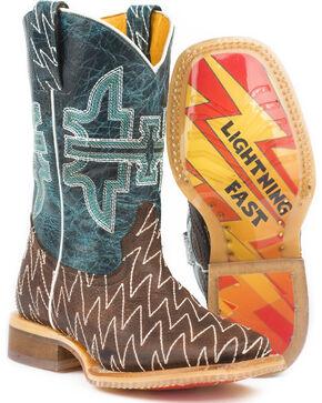 Tin Haul Boys' Thunderbolt Cowboy Boots - Square Toe - Sz. 2-3, Brown, hi-res
