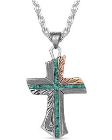Montana Silversmiths Men's Inner Light Turquoise Cross Necklace, Silver, hi-res
