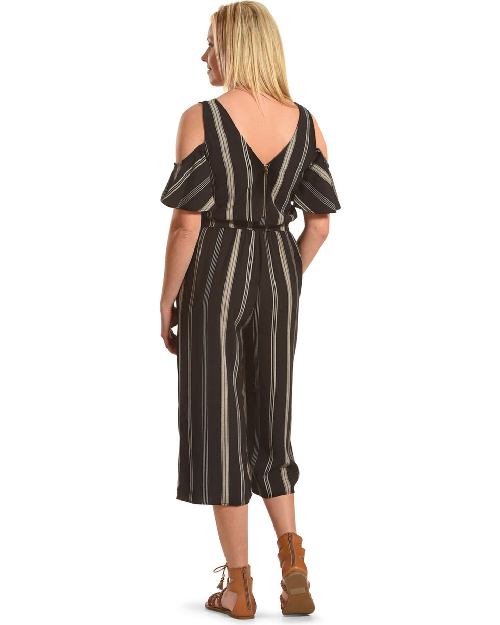 Eyeshadow Women's Striped Cold Shoulder Gaucho Jumpsuit, Black, hi-res