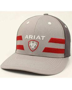 Ariat Men's Grey & Red Logo Stripe Ball Cap , Red, hi-res