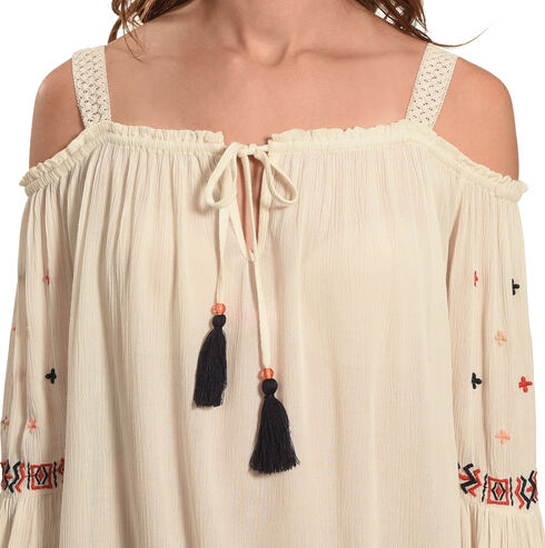 Bila Women's Crochet Cold Shoulder Top, Khaki, hi-res