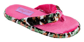 Blazin Roxx Youth Girls' Sequin Camo Flip Flop Slippers, Hot Pink, hi-res