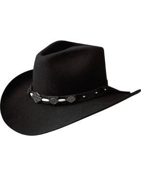 Harley Davidson Men's Wool Pinch Crease Hat, Black, hi-res
