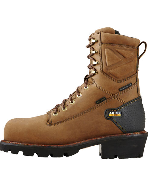 "Ariat Men's Brown Powerline H20 400g 8"" Work Boots - Composite Toe, Brown, hi-res"
