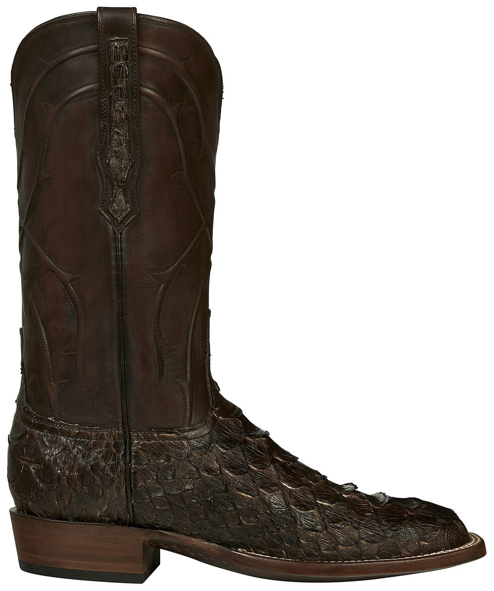 Lucchese Handmade Brown Perry Giant Python Cowboy Boots - Square Toe , Dark Brown, hi-res