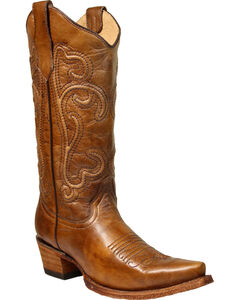 Corral Women's Brown Corded Cowgirl Boots - Snip Toe, Brown, hi-res