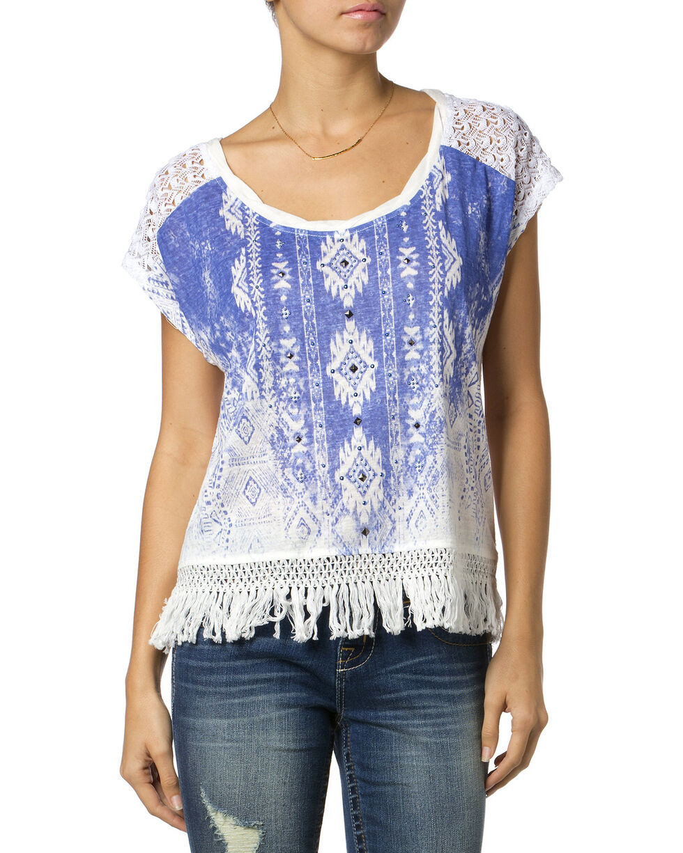 Miss Me Printed Fringe Top, Blue, hi-res