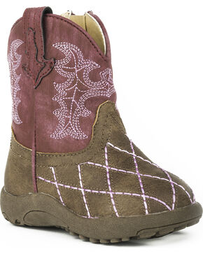 Roper Infant Girls' Cowbaby Cross Cut Pre-Walker Cowgirl Boots, Brown, hi-res