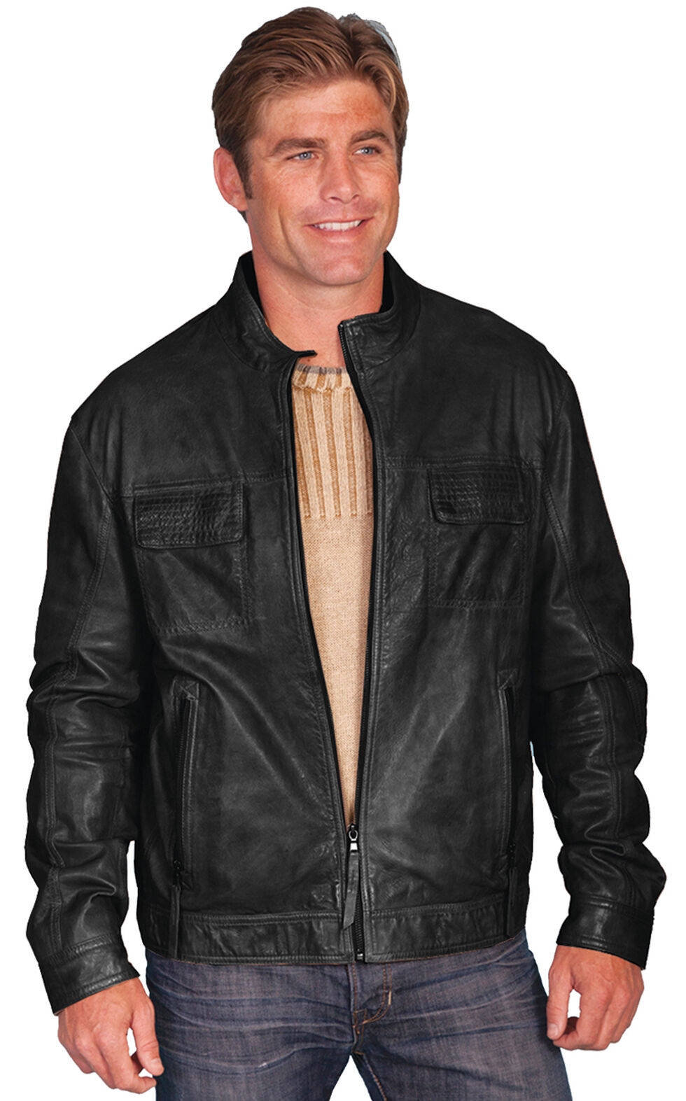 Scully Leatherwear Men's Black Leather Jacket, Black, hi-res