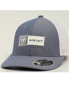 Ariat Men's Light Blue Rectangle Logo Patch Mesh-Back Flex-Fit Ball Cap , Blue, hi-res