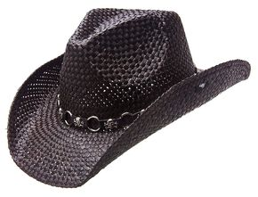 Peter Grimm Vado Skulls & Rings Hat Band Straw Cowboy Hat, Black, hi-res