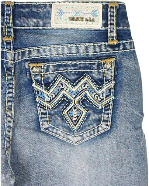 Grace in LA Girls' Blue Stitched Pocket Jeans - Boot Cut , Blue, hi-res