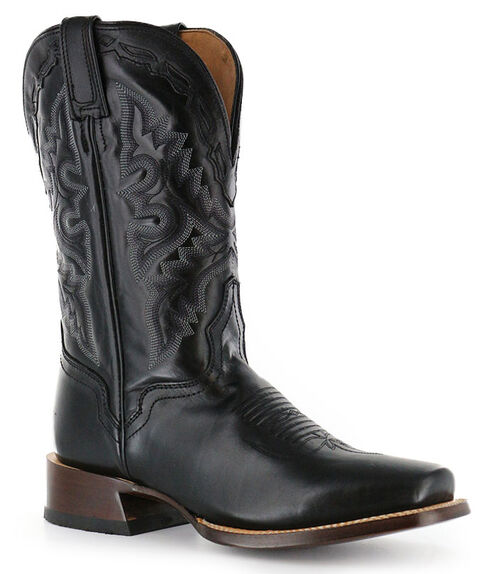 El Dorado Black Vanquished Calf Cowboy Boots - Square Toe, Black, hi-res