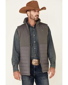 Rock & Roll Denim Men's Solid Charcoal Performance Quilted Zip-Front Vest , Charcoal, hi-res
