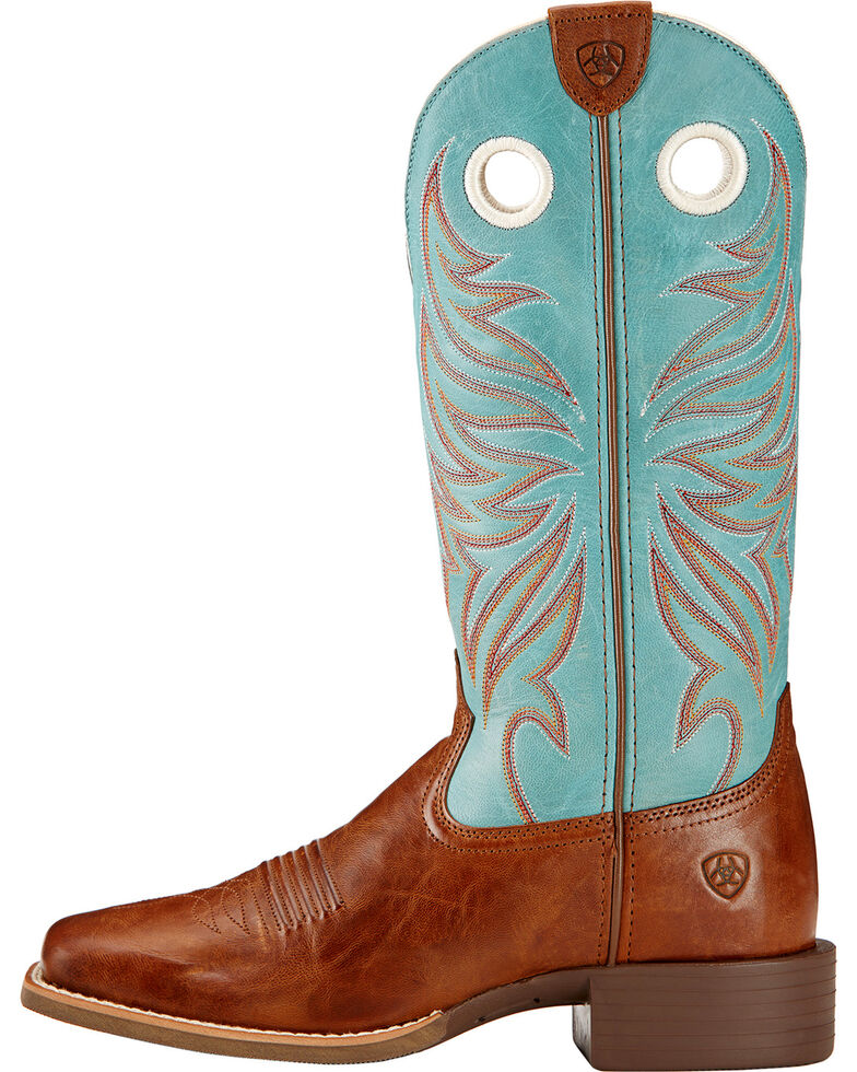 Ariat Round Up Ryder Cowgirl Boots - Square Toe , Wood, hi-res