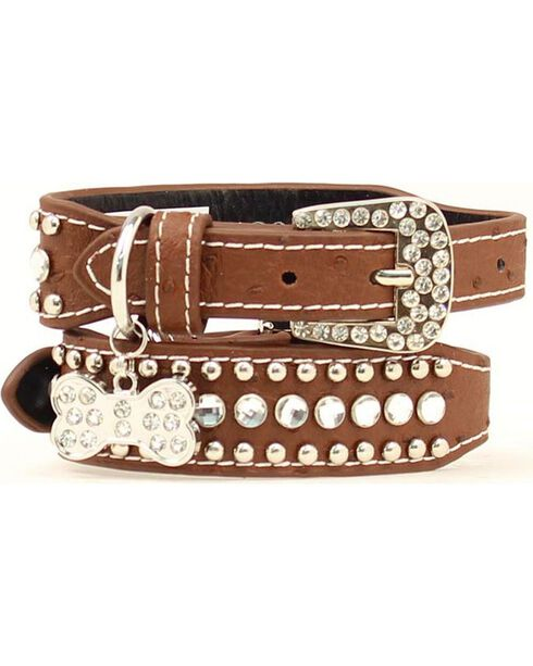 Blazin Roxx Bedecked Leather Dog Collar - S-XL, Brown, hi-res
