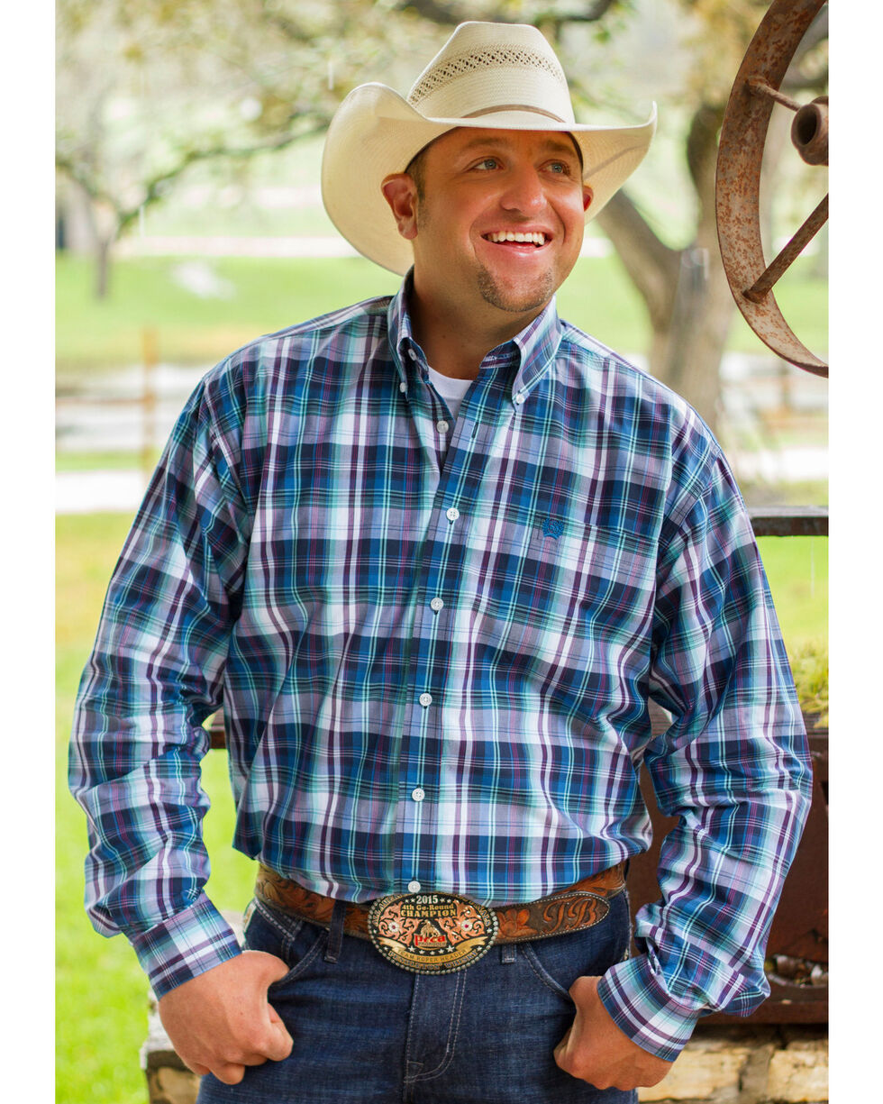 Cinch Men's Blue Long Sleeve One Pocket Plaid Shirt , Blue, hi-res