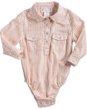 Shyanne Infant Girls' Lurex Striped Long Sleeve Onesie, Pink, hi-res