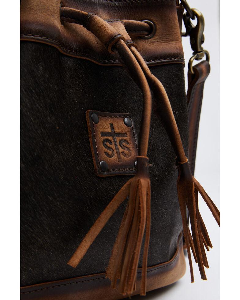 STS Ranchwear Women's Cowhide Bucket Bag, Black, hi-res