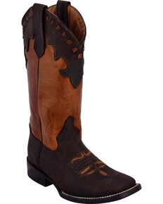 ad3cabd2cc8 Ferrini Womens Old West Chocolate Cowgirl Boots - Square Toe