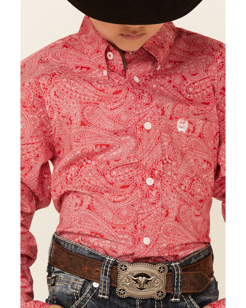 Cinch Boys' Red Paisley Print Long Sleeve Button-Down Western Shirt , Red, hi-res