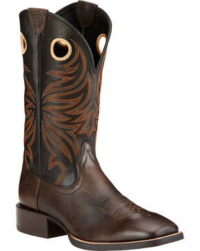 Ariat Sport Rider Cowboy Boots - Square Toe , Chocolate, hi-res