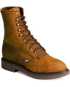 "Justin Original 8"" Lace-Up Work Boots - Steel Toe, Brown, hi-res"