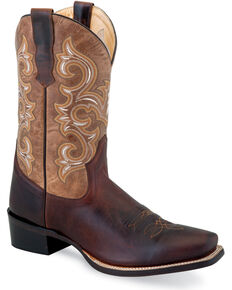 """Old West Men's Brown 11"""" Leather Boots - Narrow Square Toe , Brown, hi-res"""