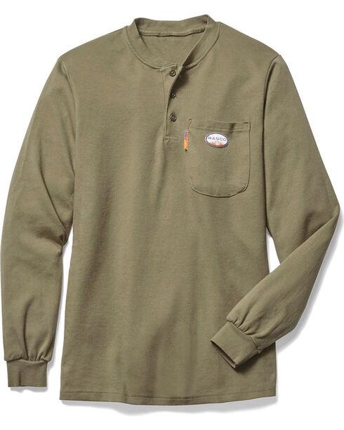 Rasco Men's Flame Resistant Long Sleeve Work Henley, Beige/khaki, hi-res