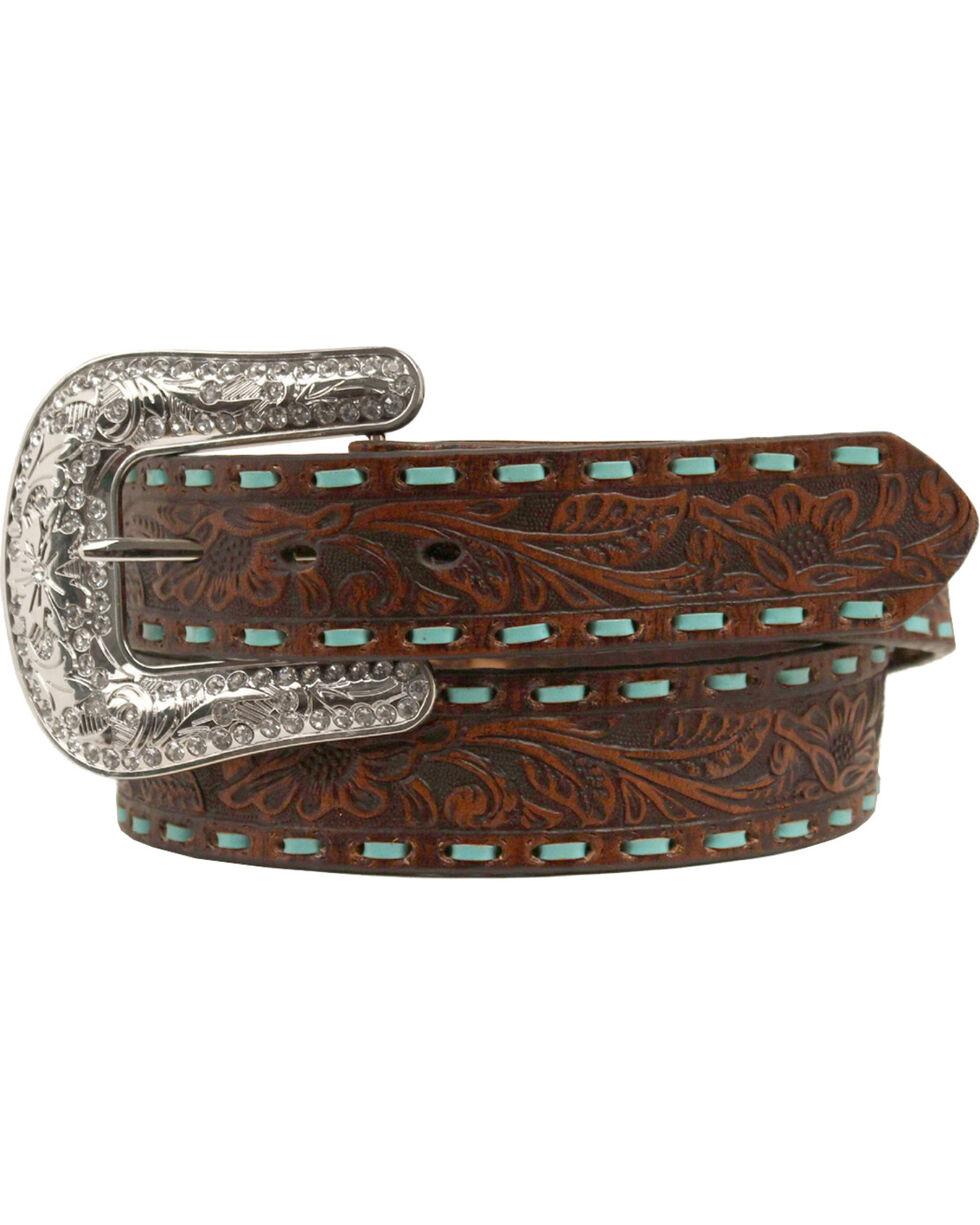 Nocona Embellished Turquoise Cross Concho Belt, Brown, hi-res
