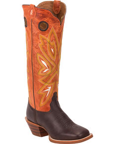 Tony Lama Chocolate Frio 3R Buckaroo Cowgirl Boots - Square Toe , Chocolate, hi-res