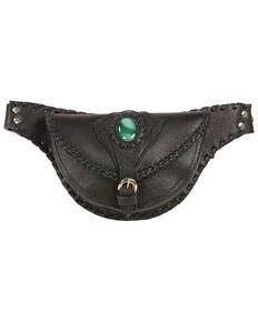 Milwaukee Leather Women's Stone Inlay & Gun Holster Braided Leather Hip Bag, Black, hi-res